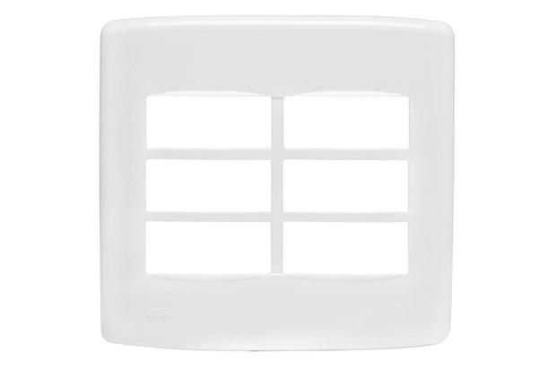Placa 4''X4'' para 6 Módulos Duale Up Branca - Iriel