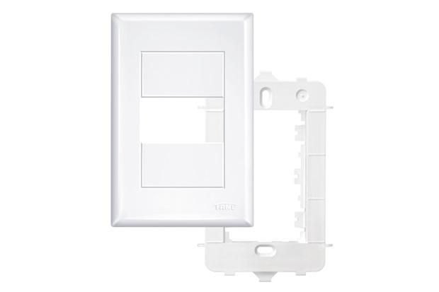 Placa 4x2 com Suporte 1 Módulo Horizontal  Branco - Fame