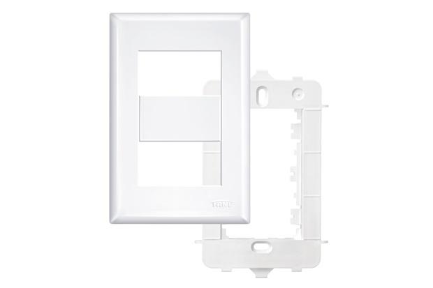 Placa 4x2 com Suporte 2 Módulos Distanciados Horizontais Branco - Fame