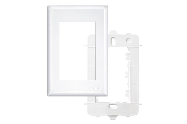 Placa 4x2  com Suporte 3 Módulos Horizontais Branco - Fame