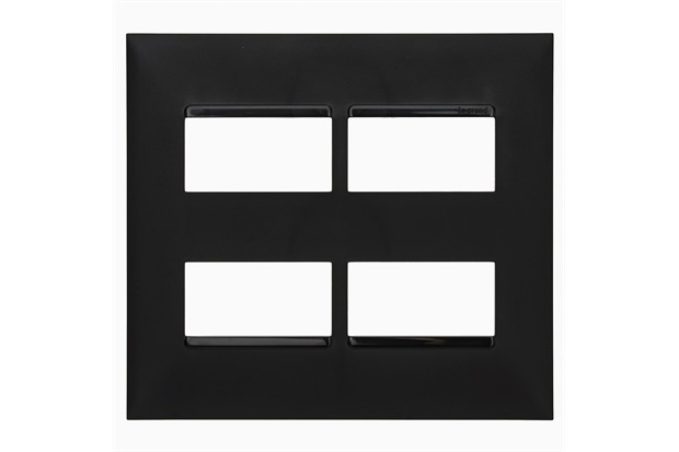 Placa 4x4 2+2 Postos Separados Plusmais Preta - Pial Legrand