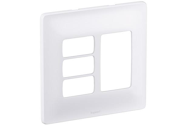 Placa 4x4 3 Postos Separados + 3 Postos Juntos Zeffia Branco - Pial Legrand