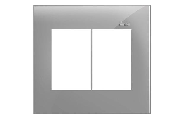 Placa 4x4 6 Postos Horizontais Simon 35 Cinza - Simon
