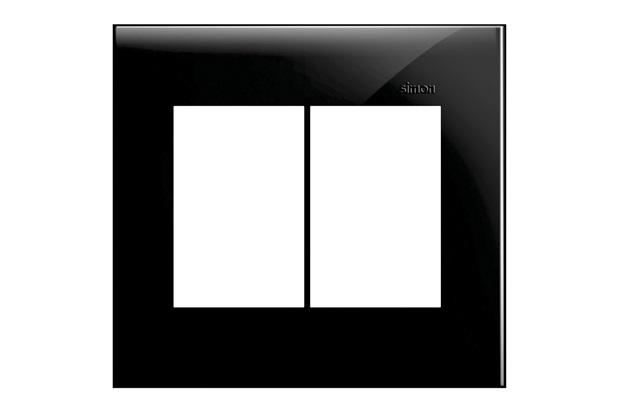 Placa 4x4 6 Postos Horizontais Simon 35 Preta - Simon