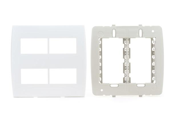 Placa 4x4 com Suporte 4 Módulos Separados Ilus Branca - Siemens