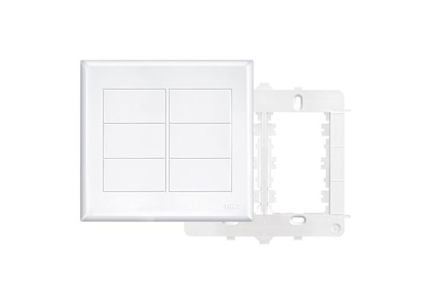 Placa 4x4 com Suporte Cega Branco - Fame