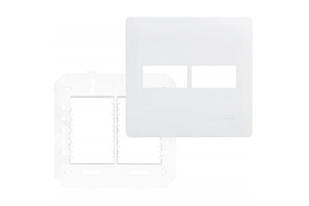 Placa com Suporte 4x4 2 Postos Horizontais Habitat Branco - Fame