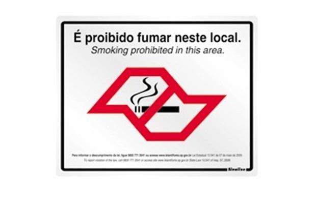 "Placa de Alumínio 25x25 ""Lei Anti Fumo/Sp13541/2009"" Ref. 180s - Sinalize"