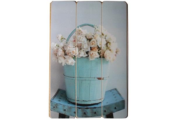 Placa Decorativa Balde de Rosas 40x60cm Azul E Branco - Império Decore