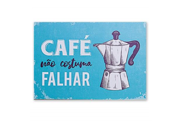 Placa Decorativa em Madeira Café Não Falha 30x44cm - Casa Etna