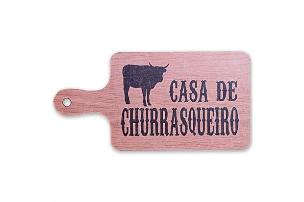 Placa Decorativa em Madeira Formato Tábua de Churrasco 16x32cm - Casa Etna