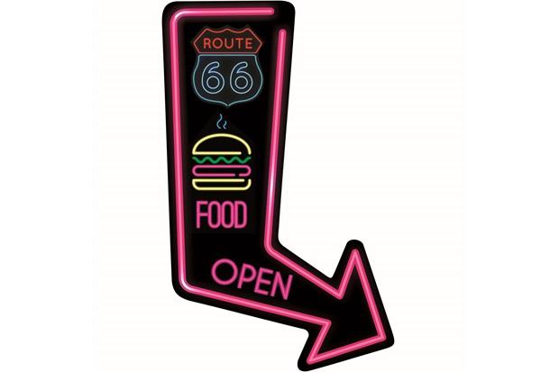 Placa Decorativa em Mdf Seta Route 66 Food Open 15x30cm - Kapos