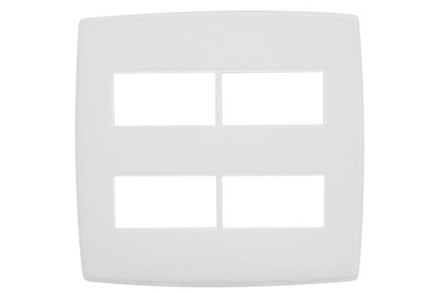 Placa para 2 + 2 Postos Separados 4x4'' Pialplus Branca - Pial Legrand