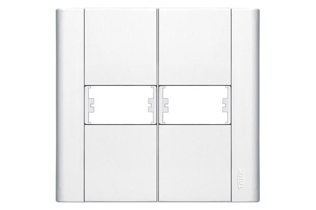 Placa para 2 Módulos Horizontais 4''X4'' Modulare Branca - Fame