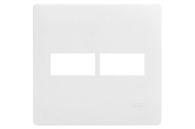 Placa para 2 Módulos Horizontais 4x4 Habitat Branca - Fame