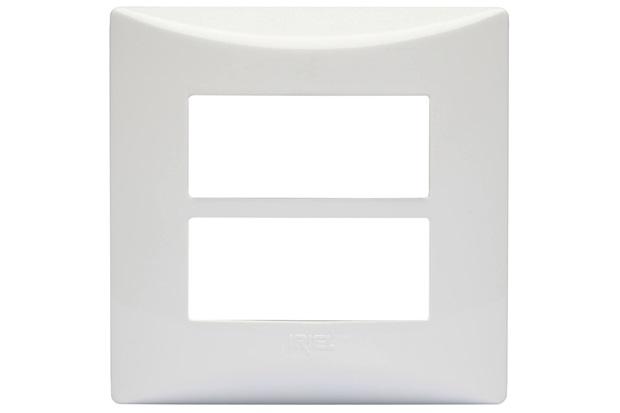 Placa para 2 Módulos Separados com Suporte Brava Branca - Iriel