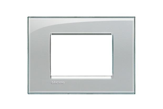 Placa para 3 Postos Quadrado 4x2 Grigio Ghiaccio - BTicino