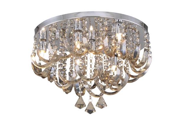 Plafon Arcos de Cristal Champanhe para 7 Lâmpadas - Hevvy