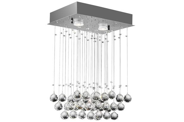Plafon Crystal Ball Retangular 2 Luzes - Bronzearte