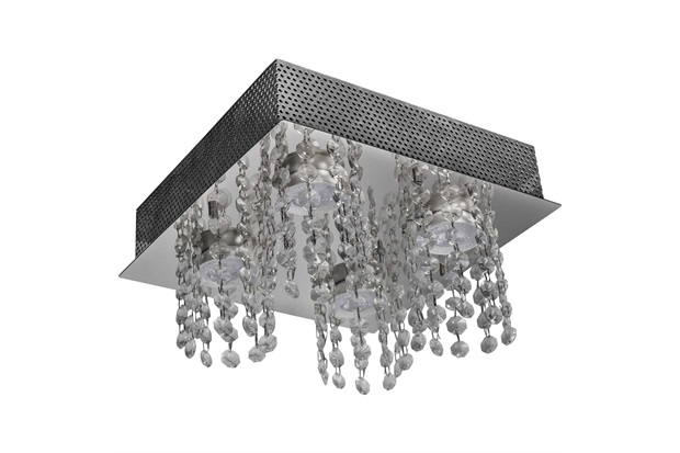 Plafon em Aço para 4 Lâmpadas Quadrado Cristal Iguaçu 25x25cm - Bronzearte
