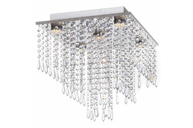Plafon em Aço Quadrado para 5 Lâmpadas Lisalia 40cm Cromado - Auremar