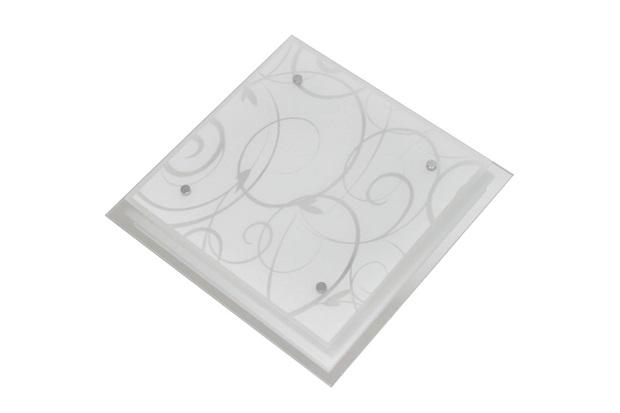 Plafon em Vidro Quadrado para 1 Lâmpada Angra 25cm Branco - Taschibra