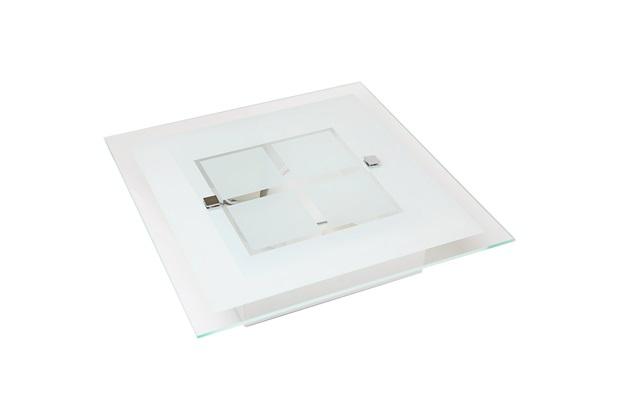 Plafon em Vidro Quadrado para 1 Lâmpada Módena 30cm Branco - Auremar