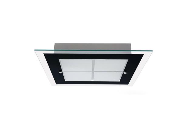 Plafon em Vidro Quadrado para 2 Lâmpadas Módena 40cm Preto - Auremar