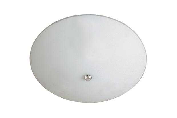 Plafon em Vidro Redondo para 2 Lâmpadas 25cm Branco E Cromado - Pantoja & Carmona