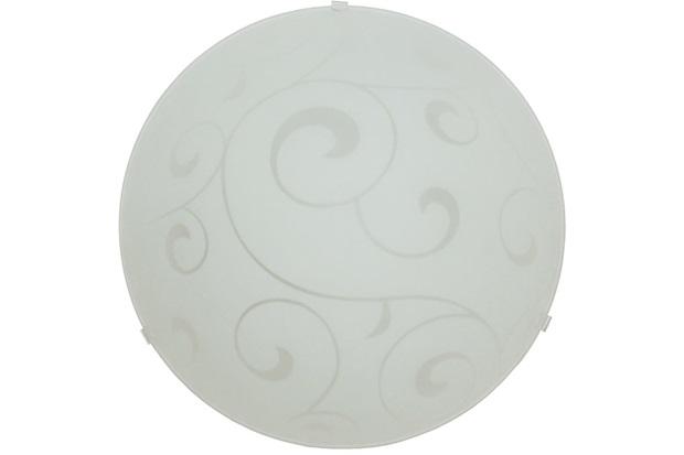 Plafon em Vidro Redondo para 2 Lâmpadas Angra 30cm Branco - Taschibra