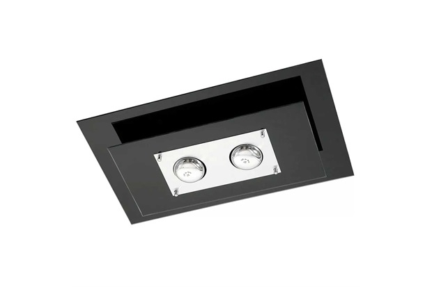 Plafon em Vidro Retangular para 2 Lâmpadas Saturno 50x30cm Preto - Pantoja & Carmona