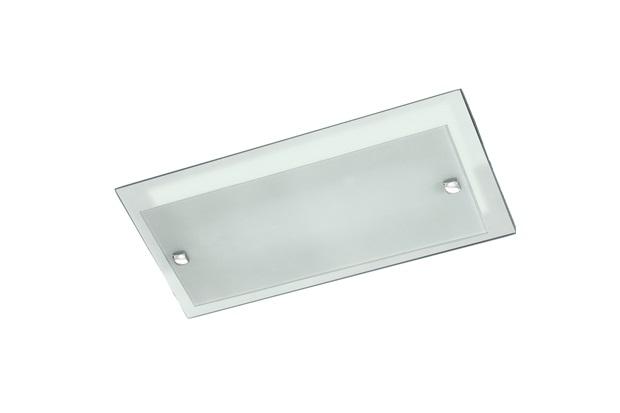 Plafon em Vidro Retangular para 3 Lâmpadas Plana 50x24cm Preto - Pantoja & Carmona