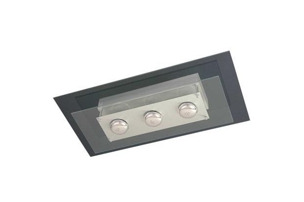 Plafon em Vidro Retangular para 3 Lâmpadas Saturno 60x30cm Transparente - Pantoja & Carmona