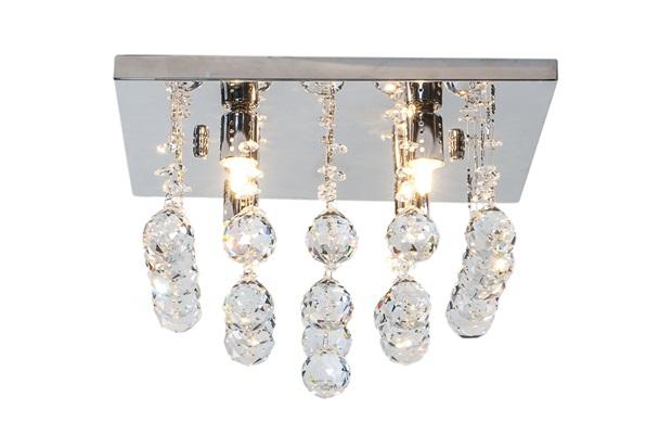 Plafon Quadrado em Vidro Cascata de Cristal para 4 Lâmpadas - Hevvy