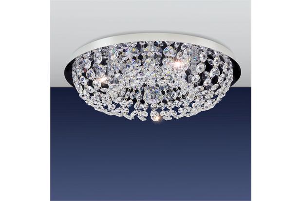 Plafon Redondo Royal Cristal com 8 Luzes 40cm Espelhado - Bronzearte