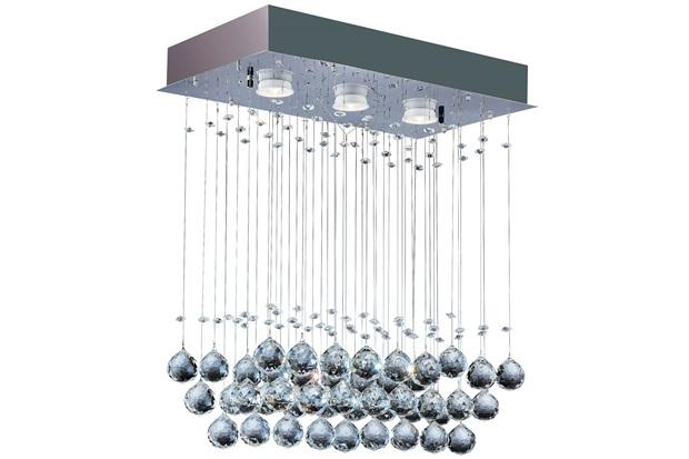 Plafon Retangular Crystal Ball com 3 Luzes 46x26cm Espelhado - Bronzearte
