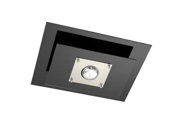 Plafon Retangular em Vidro para 1 Lâmpada Spacial 40x30cm Preto - Pantoja & Carmona