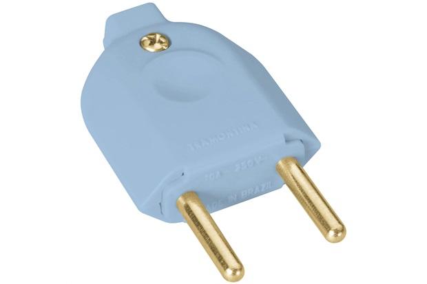 Plug Macho 2 Polos 10a 250v Azul - Tramontina