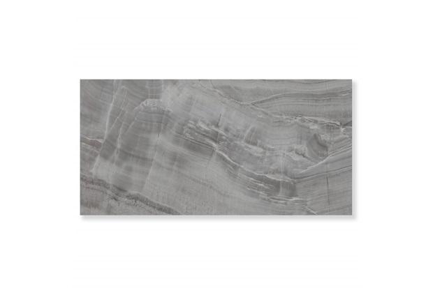 Porcelanato Esmaltado Polido Borda Reta Onix Dark Cinza 59x118cm - Eliane
