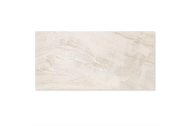 Porcelanato Esmaltado Polido Borda Reta Onix Pérola Branco 59x118cm - Eliane