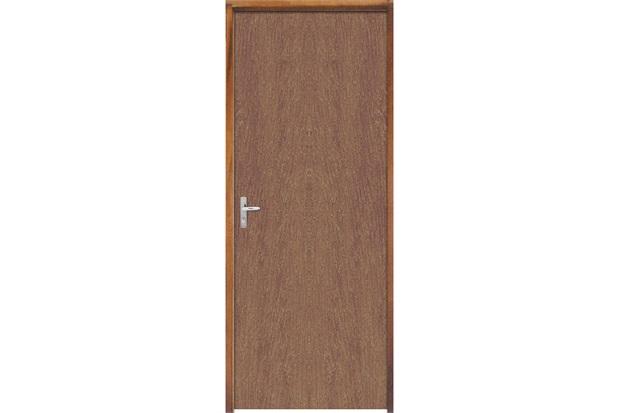 Porta com Miolo Semi Oco Montada Direita Imbuia Lisa 210x72cm Natural - Sidney Esquadrias