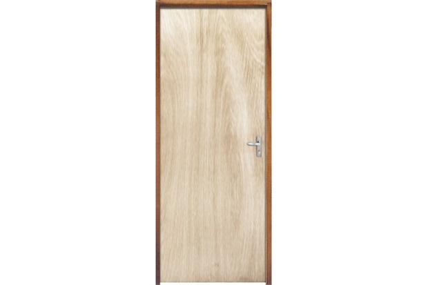 Porta com Miolo Semi Oco Montada Esquerda Virola Lisa 210x62cm - Sidney Esquadrias