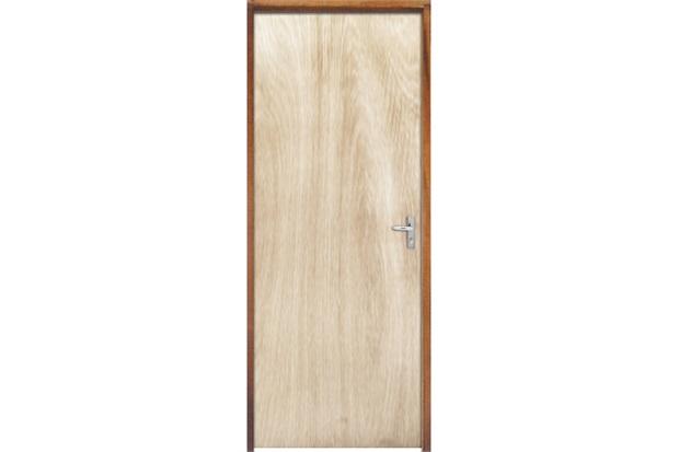 Porta com Miolo Semi Oco Montada Esquerda Virola Lisa 210x82cm - Sidney Esquadrias