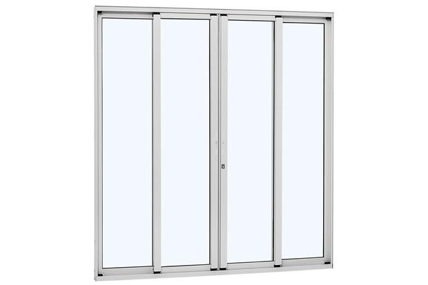 Porta de Correr Central Alumínio 4 Folhas 216x200cm Branca - Sasazaki
