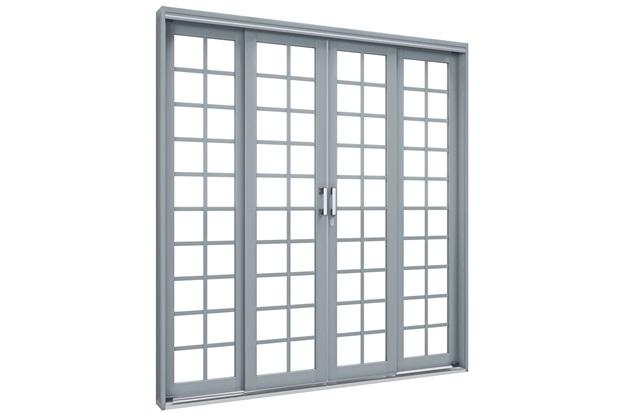 Porta de Correr Central Premium 213x200cm Cinza - Lucasa