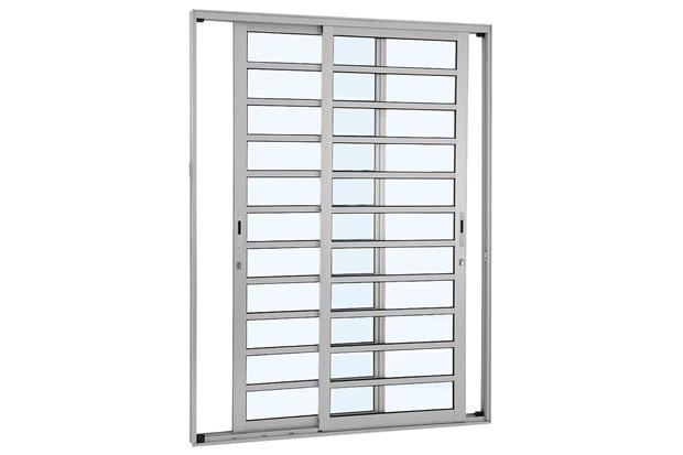 Porta de Correr com Divisão Horizontal Alumifort 216,5x160,5cm Branca - Sasazaki