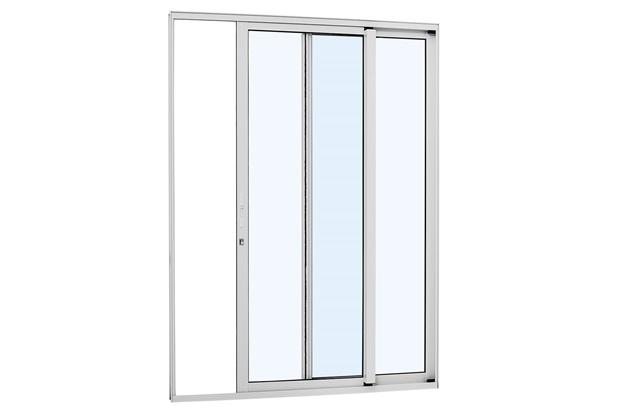 Porta de Correr Direita Alumínio 2 Folhas 216x160cm Branca - Sasazaki
