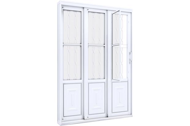 Porta de Correr Direita com Grade Mosaico Facilità 213x150cm Branca - Lucasa