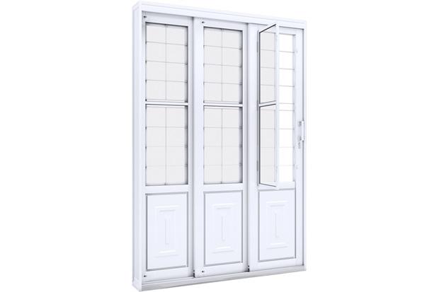 Porta de Correr Direita com Grade Quadrada Facilità 213x150cm Branca - Lucasa