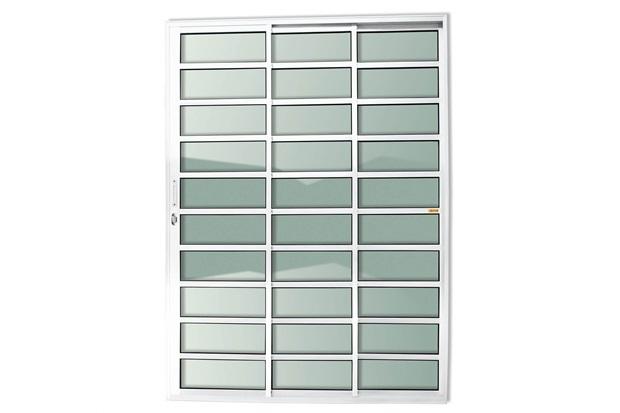 Porta de Correr em Alumínio Super 25 com 3 Folhas E Travessas 210x150cm Branca - Brimak